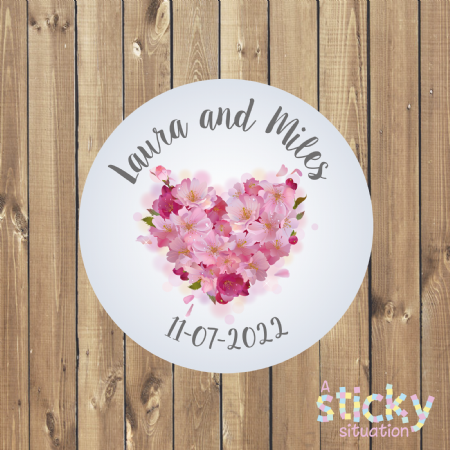 Personalised Wedding Stickers - Floral Heart Design